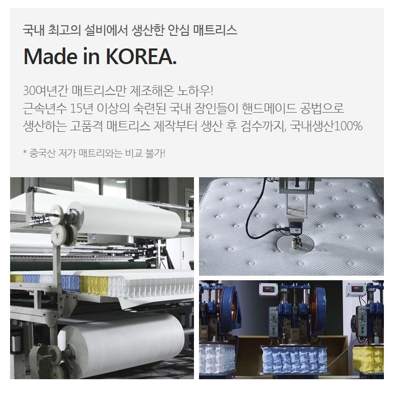 국내 최고의 설비에서 생산한 안심 매트리스 Made in KOREA.
