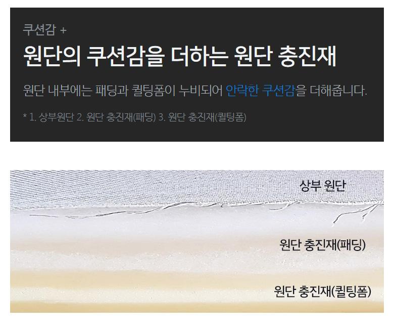 쿠션감 + 원단의 쿠션감을 더하는 원단 충진재